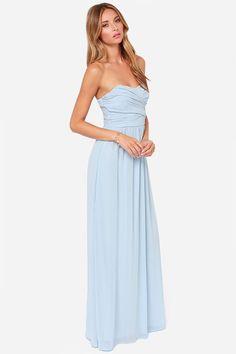 LULUS Exclusive Royal Engagement Strapless Light Blue Maxi Dress at Lulus.com!
