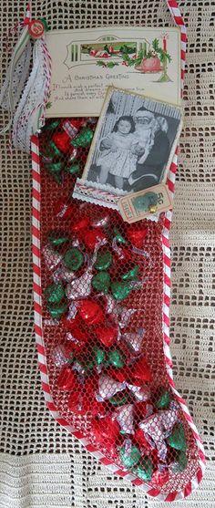 Vintage dimestore Christmas stocking--all products from Vintage Street Market; vintage Christmas photo found on Google