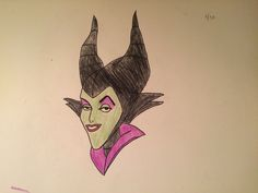 Drawing Maleficent pt.4 finished. Disney sketches