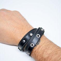 Leather Wrap Studded Bracelet Adjustable Leather Bracelet Black Leather Bracelet Unisex Gift Gift For Him Gift for Her Bracciale Uomo