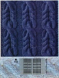 Schemes and detailed descriptions of knitting patterns complex braids, Cable Knitting Patterns, Knitting Stiches, Knitting Charts, Lace Knitting, Knitting Designs, Knitting Needles, Knit Patterns, Crochet Stitches, Stitch Patterns