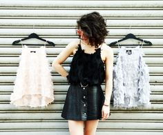 #tufted #fluffy #unique #top #szputnyikshop Black Tank Tops, Crop Tops, Perfect Woman, Lace Tops, Your Style, Vintage Fashion, Black And White, Lady, Unique