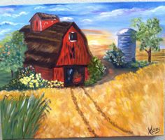 landscape oil painting modern art 20x16 gallery wrapped stretched canvas barn farm wall decor