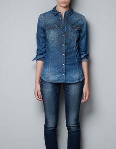 DENIM SHIRT - Shirts - Woman - ZARA United Arab Emirates