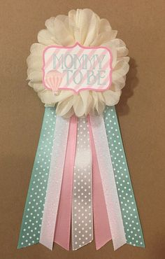 pink hot air balloon baby shower baby shower pin mommy to be pin flower ribbon pin corsage glitter shower shabby chic mom to be mama mint