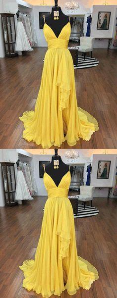 yellow chiffon v neck long prom dress, yellow evening dress, formal dresses