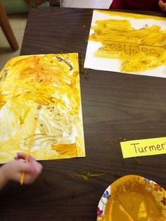 More painting with spices! The classroom smelled delicious! Cumin, curry, coriander, and turmeric painting during our unit on India!