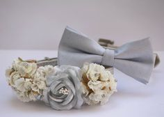 White and Silver Wedding Dog Collars -  Silver Dog Collar, Silver Bow tie, Silver wedding accessory on Etsy, $64.99