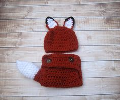 Baby Diaper Cover and Hat Baby Fox Tail Baby Fox by Monarchdancer