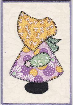 Sunbonnet+Sue+Fabric+Postcard+by+zizzybob+on+Etsy,+$7.00