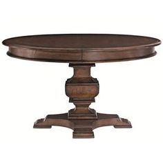 With its stacked turned pedestal and warm Harvest Brown finish, this round dining table completes any dining room with classic style. A fancy face table top with rogue and quartered cherry veneers makes the perfect base for plates of food. Bracket feet give the piece sturdy support, and one 20 inch leaf ensures space for the whole family to gather around. Whether you're sitting down to a meal with family or a formal dinner with friends, this round dining table brings a classic, elegant touch…