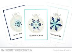 Handmade holiday cards from Stephanie Klauck featuring Snowflake Splendor Card Kit from My Favorite Things #mftstamps