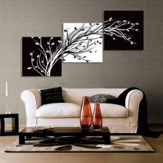 Amazon.com: Abstract the black and white flowers decorative painting plum is the wind canvas modern art of three pieces: Office Products