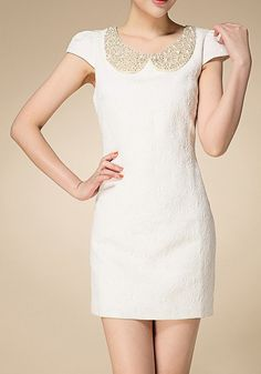 White Plain Beading Round Neck Cotton Blend Dress
