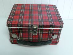 1960s Aladdin Red Plaid Metal Tin Lunchbox  by NewLIfeVintageRVs, $20.00