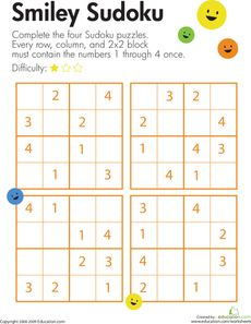 Here's a page with a set of 4x4 sudoku puzzles for challenging kids to use their logical reasoning and problem solving skills. http://www.pinterest.com/chocardyf/jeux-de-soci%C3%A9t%C3%A9/