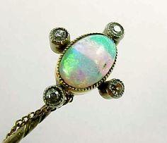 Edwardian Opal Diamond English 15 Carat Gold Lapel Stick by br2too