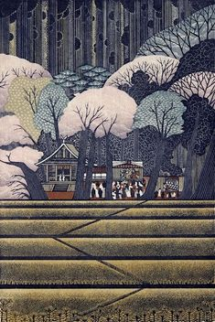 SPRING EVENING BY RAY MORIMURA. A modern woodblock featuring an abundance of patterns, textures and increased stylization!! #woodblock #prints www.richard-neuman-artist.com