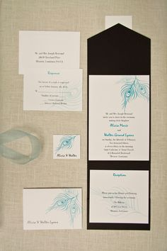 Set #TD114AQ features embossed peacock feathers for an elegant touch.  http://yourinvitationplace.com/Detail.aspx?ItemNum=TD114AQ&WebName=shop2cc