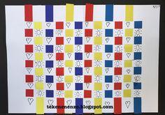 Door Vera, groep Benodigdheden: wit tekenpapier A4 vlechtstroken in rood, geel en blauw zwart papier fineliner lijm Knip ...