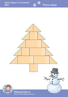 Den, figuren leggen in de bouwhoek,  thema winter , juf Petra van kleuteridee, Preschool patterns for block area, free printable.