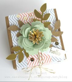 Stampin' Up! - Spiral Flower Gift Box top - Occasions 2014 - Sarah Sagert - www.sarahsagert.stampinup.net/blog