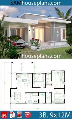 House Plans with 3 bedrooms roof tiles - Sam House Plans