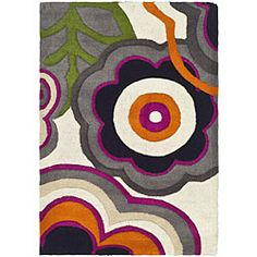 @Overstock - Add functional beauty to your home decor with a wool rug  Contemporary floor rug adds warmth and texture to any room Area rug offers rich shades of black, orange, green, grey and purple http://www.overstock.com/Home-Garden/Handmade-Soho-Flower-Power-Ivory-Multi-N.-Z.-Wool-Rug-2-x-3/4572729/product.html?CID=214117 $23.54