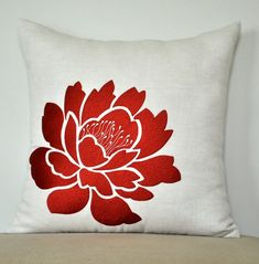 Orange Pillow Cover, Decorative Throw Pillow Cover, Beige Linen Pillow Orange Flower Embroidery, Pillow Case, Couch Pillow, Cushion Cover