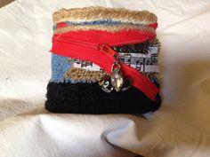 Fabric cuff bracelet denim D1 on Etsy, $24.99