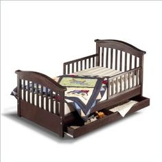 Possible toddler bed with storage for our little big man