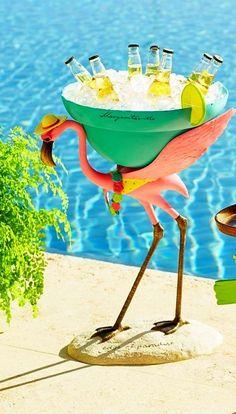 Pool Party-Perfect for holding Landsharks, our Margaritaville Flamingo Beverage Tub keeps drinks ice cold. Flamingo Party, Flamingo Decor, Pink Flamingos, Kitsch, Tout Rose, Beverage Tub, Deco Boheme, Jimmy Buffett, My Pool
