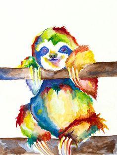 Sloth Print Slothy Sloth by ElizabethStreetArt on Etsy