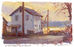 Hutton Street, casein on watercolor paper. - by James Gurney, golden ochre, raw umber, Venetian red, cobalt blue, white, 5x8
