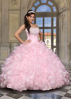 Pink Quinceanera Dresses | Ruffled pink Quince dress with rhinestones | Vestidos de Quinceanera | Sweet 15 | Quince fashion #sweet15 #fashion #quinceanera
