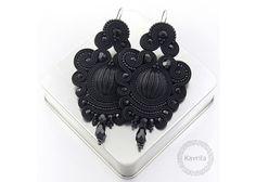 Chandeliers - kolczyki soutache lexite black NA ZAMÓWIENIE - ein Designerstück von Kavrila bei DaWanda