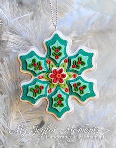 Handcrafted Polymer Clay Holly Snowflake by MyJoyfulMoments