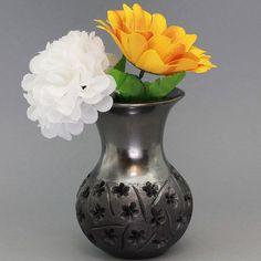 Handmade and decorated black clay vase  BC-VML-102 by HennaCity