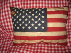 Primitive Americana Flag Pillow/$th of July/Red/White/Blue/Stars/Stripes #NaivePrimitive