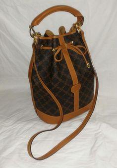 New NOS Bally Monogram Canvas Leather Bucket Bag handbag shoulder bag purse #Bally #BeachBagBucketBagCrossbody