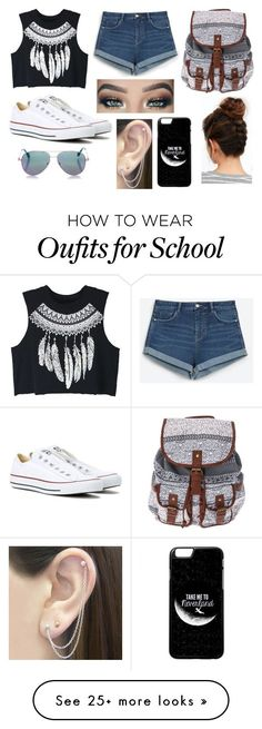 """School"" by kenziedancer13 on Polyvore featuring WithChic, Zara, Converse, Cutler and Gross, Otis Jaxon, outfit and school"