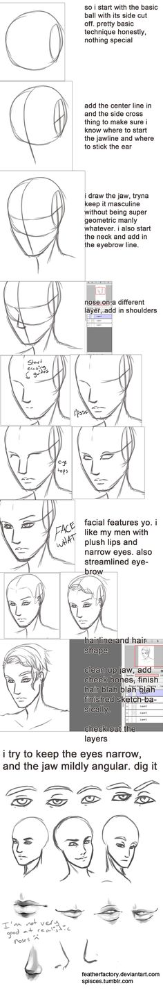 Anime Drawing Tutorial not really a tutorial, but y'know just sharing what i've learned so far about making pretty men faces i sketch and do lines in FireAlpaca because it has that cool correction function that smooths l. Drawing Lessons, Drawing Techniques, Drawing Tips, Drawing Tutorials, Art Tutorials, Drawing Sketches, Drawing Faces, Sketching, Pencil Drawings