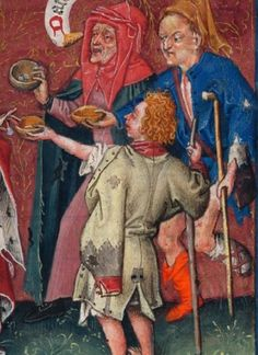 """Beggars being given alms by Catherine of Cleves. A banner above quotes Luke (11:41), """"Give alms, and all things are clean unto you."""" Circa 1440. Hours of Catherine of Cleves, Morgan Library MS M.917, pp. 64–65"""