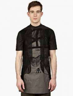 Rick Owens OLMA01_Rick Owens SS Hard T Tooth Face The Rick Owens Men™s Black Embroidered T-Shirt for SS15, seen here in black. - Part of his SS15 Faun™ collection, inspired by controversial 1912 ballet Laprès-midi dun faune™ this tunic t-shirt from  http://www.MightGet.com/january-2017-13/rick-owens-olma01_rick-owens-ss-hard-t-tooth-face.asp