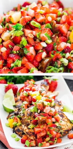 A light and refreshing strawberry and jalapeno salsa with cilantro lime marinated grilled chicken, perfect for summer!