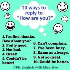 "Forum | ________ Learn English | Fluent Land10 Ways to Reply to "" HOW ARE YOU?"" 