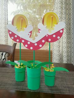 piranha plant homemade centerpieces for a super mario brothers themed birthday party!