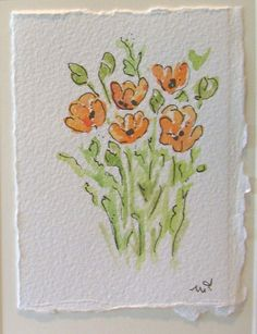 Potted Tulips Watercolor Card / Hand Painted Watercolor Card Flowers that will last! This card is an original watercolor not a print. Watercolor Cards, Watercolor And Ink, Watercolor Flowers, Watercolor Paintings, Watercolours, Paint Cards, Watercolor Techniques, Flower Cards, Note Cards