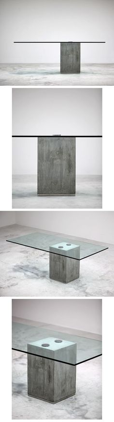 SERGIO AND GIORGIO SAPORITI dining table. Italy, c. 1970-80 cast concrete, glass, chrome-plated steel, stainless steel 78.25 w x 39.25 d x 28.75 h inches: