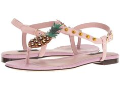 b86d4d207f10 Dolce Gabbana Suede Thong Sandal With Pineapple Detail